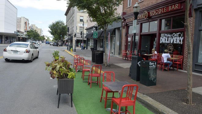 Flying Monk Noodle Bar on Broughton Street is a restaurant that has embraced outdoor seating during the pandemic with the on-street option approved by the city late last year.