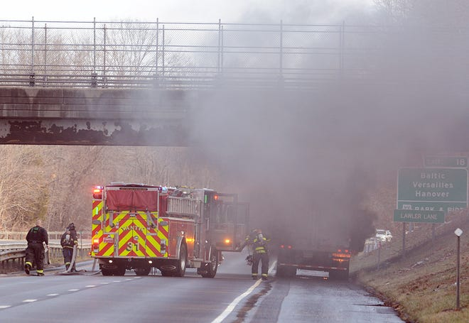 Several Norwich fire departments responded to a tire fire in a trailer truck Monday at 9:45 a.m. in the northbound lane of I-395 just before exit 18 for Occum and Taftville. Traffic was stopped for 15 minutes while firefighters put the fire out.
