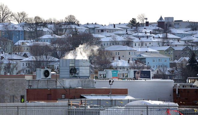 Snowy rooftops are seen on Vernon Hill earlier this month.
