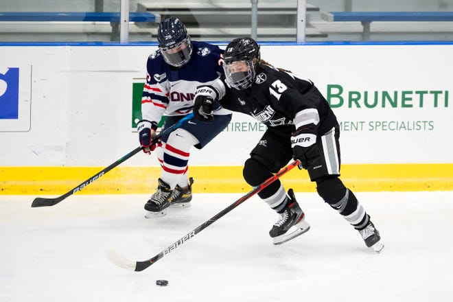 Former Shrewsbury High star Delaney Couture is back on the ice for Providence College.