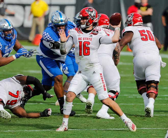 Jan 2, 2021; Jacksonville, FL, USA; North Carolina State Wolfpack quarterback Bailey Hockman (16) passes the ball against the Kentucky Wildcats during the second quarter at TIAA Bank Field. Mandatory Credit: Mike Watters-USA TODAY Sports