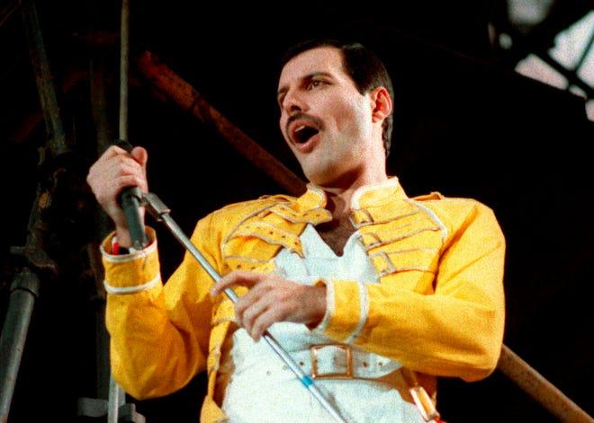 In this July 20, 1986 photo, Queen lead singer Freddie Mercury performs in Germany.