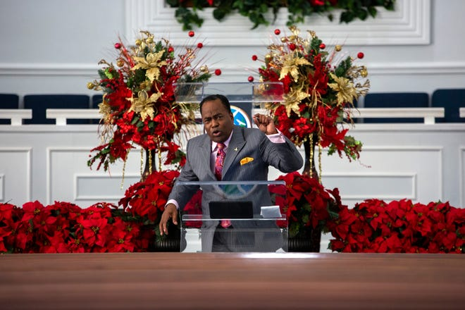 Pastor George B. Dix Jr. delivers the first sermon of 2021 during a livestreamed service at PASSAGE Family Church in Gainesville on Sunday. [Sam Thomas/Special to The Guardian]