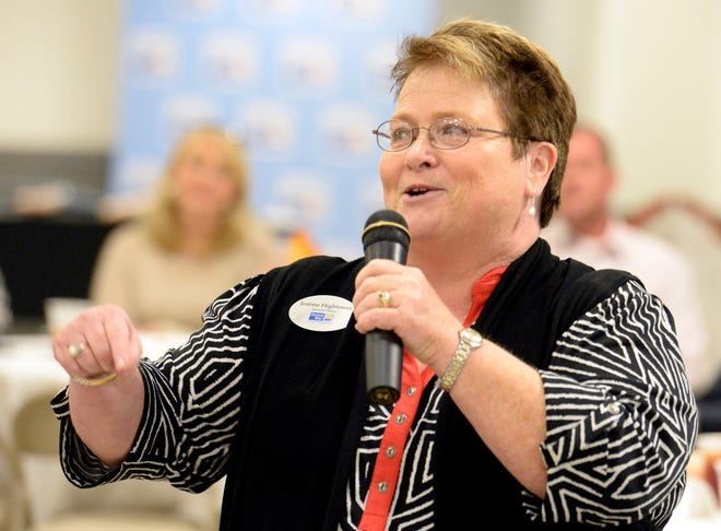 Joanne Hightower speaks Aug. 27, 2015, during the United Way of Etowah County's campaign kickoff at Convention Hall in Gadsden. Hightower, who led the organization for more than a decade, died Saturday.