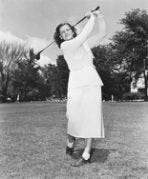 Babe Zaharias practices on Pinehurst's golf links for an exhibition match in New York. [Courtesy photo/Bettmann Archive/Getty Image