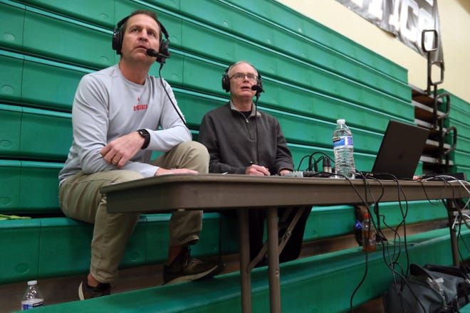 Chris Intihar (left) and Steve Basford of the Gameday Broadcasting Sports Network call the Thomas Worthington at Dublin Jerome boys basketball game Dec. 19. Services that livestream events have reported more listeners and viewers as high schools have been forced to limit attendance because of the COVID-19 coronavirus pandemic.