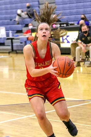 Jordan Walters drives to the basket during the Big Walnut girls basketball team's 46-28 loss at Worthington Kilbourne on Dec. 22. The Golden Eagles have been led by senior Abby Brown, who was averaging 21.3 points through six games.