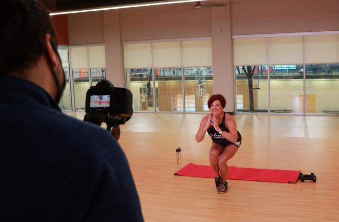 A fitness class is videotaped at the Westerville Community Center, 350 N. Cleveland Ave., with instructor Robin Andes.