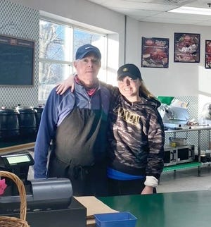 Hudson native Brad Fillmore, pictured with his daughter, Savanna, is retiring Jan. 30. Brad's Gourmet Deli and Sandwich Shop, 234 Washington St., will close. Fillmore opened the shop in October 1987 and will not be renewing his lease.