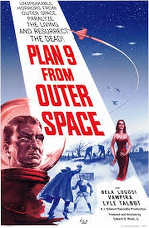 "The original poster for the Ed Wood movie, ""Plan 9 from Outer Space."""
