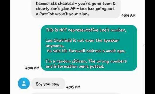 Tangkapan layar dari teks yang dikirim ke mantan penduduk Petoskey setelah kampanye Trump mencantumkan nomor yang salah di pos media sosial yang meminta orang-orang untuk menelepon mantan Ketua DPR Lee Chatfield atas hasil pemilihan negara bagian.