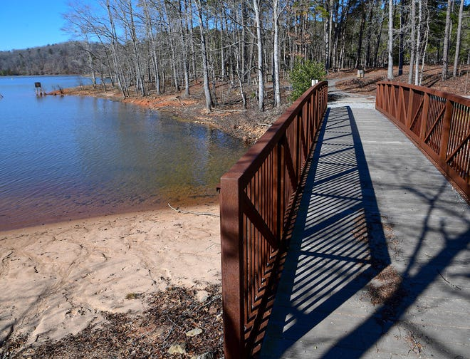 A bridge from the beach at Twelve Mile Recreation Area to the parking lot, currently only open for boating and fishing during the winter in Clemson.