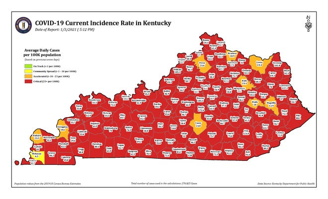 The COVID-19 current incidence rate map for Kentucky as of Sunday, January 3.