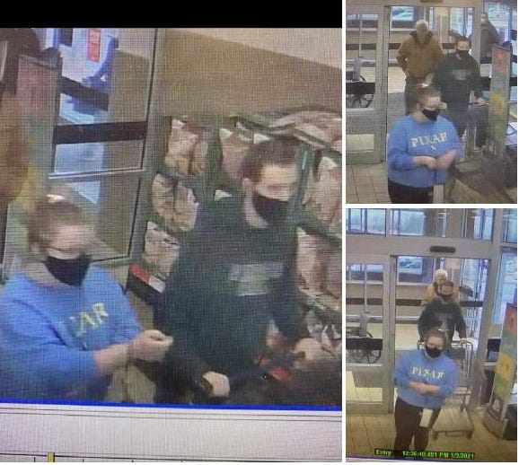 Ontario Police Department posted photos on its Facebook page of the female suspect in the blue sweatshirt, at left, in the Aldi store, 955 N. Lexington-Springmill Road, who is alleged by police to have attempted to strike a Mansfield police detective with her car as the victim was walking in the store's parking lot Sunday.