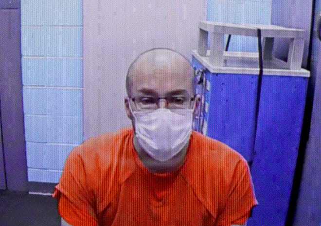 Steven Brandenburg of Grafton, the pharmacist suspected of spoiling COVID-19 vaccines at the Aurora Medical Center in Grafton, appears via video from jail for a hearing on Jan. 4, 2021 at the Ozaukee County Courthouse in Port Washington.