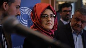 Hatice Cengiz, the fiancee of murdered journalist Jamal Khashoggi, in a scene from 'The Dissident.'