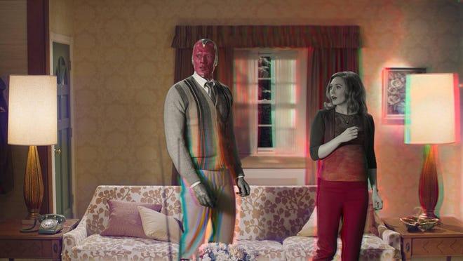 "Paul Bettany  and Elizabeth Olsen star in Marvel Studios' ""WandaVision,"" premiering Jan. 15 on Disney+."