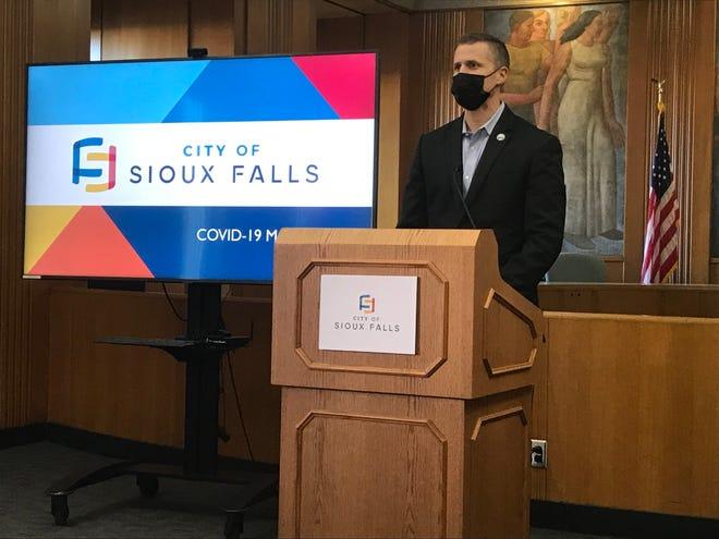 Sioux Falls Mayor Paul TenHaken at a press conference on Jan. 4, 2021.