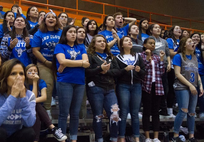 Red Cloud student section watches on during the 2018 Class A boys basketball tournament.