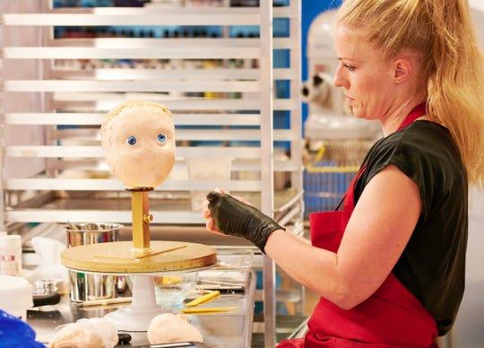 Contestant Sara Bunton Powell works on cake face of Cindy Brady, as seen on Cake-A-Like season1.