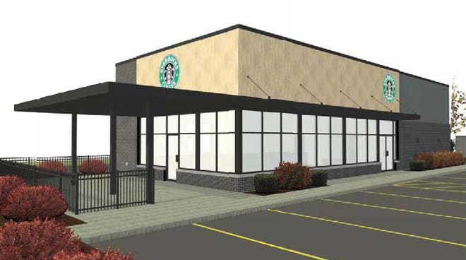 A rendering for a new Starbucks at 1810 Eighth St. S. in Wisconsin Rapids.
