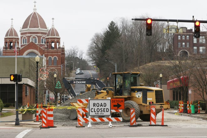 Replacement of a partially collapsed sewer main below Main Street in Zanesville is nearing completion.