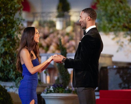 Matt greets Abigail, who also makes history this season as the franchise's first deaf contestant.