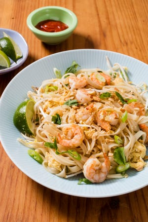 """This one-pan shrimp pad thai is from a new America's Test Kitchen cookbook called """"Foolproof Fish."""""""