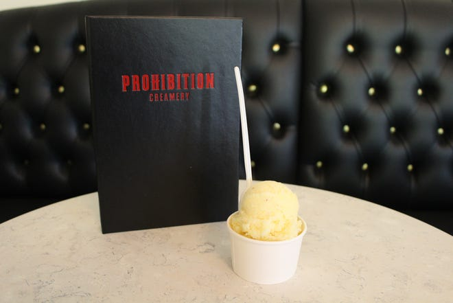 Prohibition Creamery is part ice cream parlor, part bar with beer and cocktails, and some of the ice cream has alcohol in it, such as the pineapple tequila sorbet pictured here.