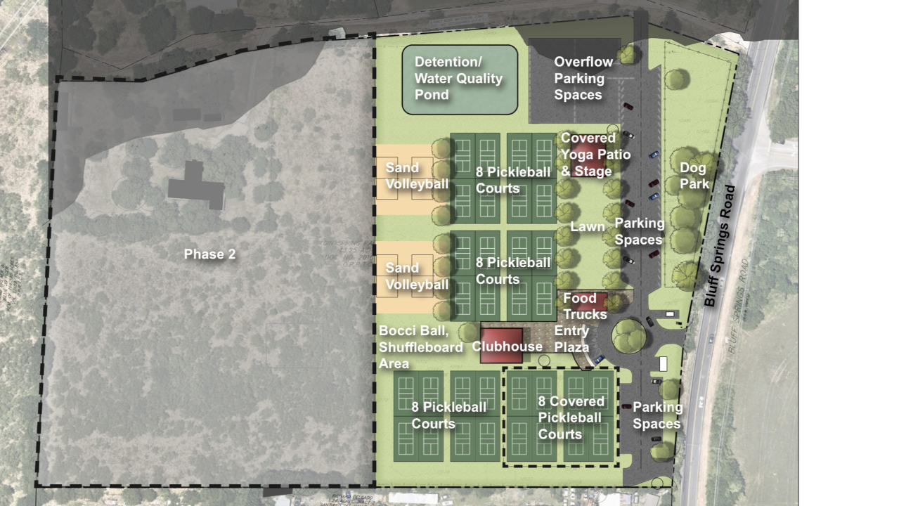 A rendering of the Austin Pickle Ranch, a sports and entertainment complex planned in Southeast Austin. [TIM KLITCH]