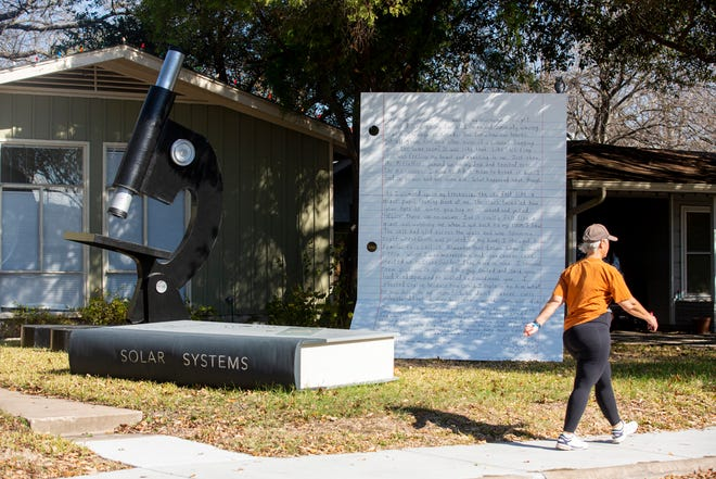 The latest installment of the Giant Letter art project can be seen on Broadmoor Drive in Northeast Austin. The artists involved include Caro d'Offay, Marj Wormald, Freya Reeves and Laura Gilmore.