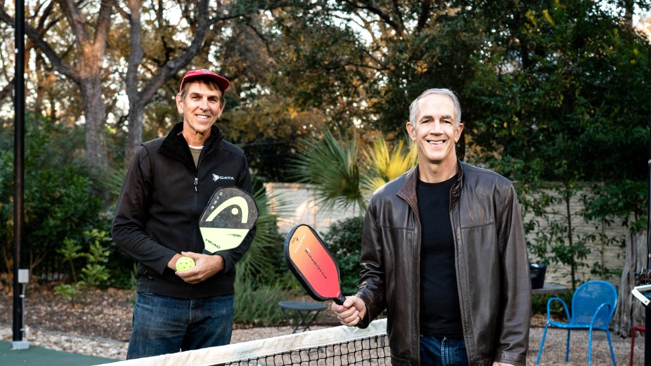 Tim Klitch, left, and Daniel Keelan are co-founders of the Austin Pickle Ranch, a sports and entertainment complex planned in Southeast Austin. [CONTRIBUTED]