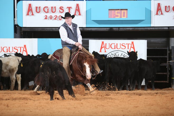 Sir Long Legs, owned and ridden by Lew Hall, took the $50,000 Amateur Any Age Finals with a score of 222 Monday during the 41st Augusta Futurity in January 2020.