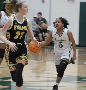 Greenbrier's Trinity Barrow (5) hit the ground running as a freshman last season. After getting her feet wet in varsity competition, coach Ryan Morningstar is looking for the sophomore point guard to help the team take the next step toward a region title.