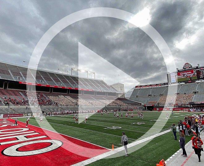 Ohio State kicks off to Nebraska in the first quarter Saturday before plenty of empty seats at Ohio Stadium.