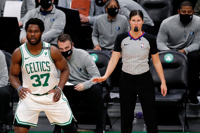 Natalie Sago officiates as Semi Ojeleye and the Celtics take on the Memphis Grizzlies Dec. 30 in Boston.