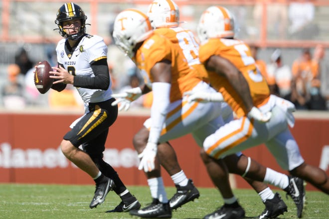 Missouri quarterback Connor Bazelak (8) looks to pass downfield during a game against Tennessee on Oct. 3 at Neyland Stadium in Knoxville, Tenn.