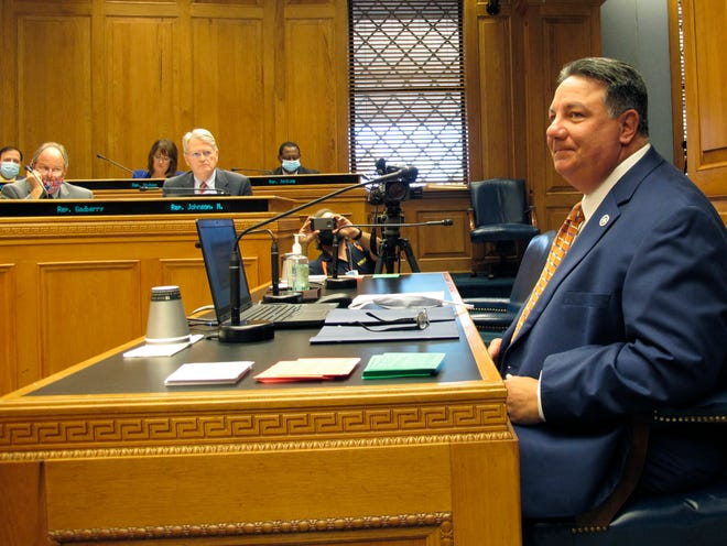 Secretary of State Kyle Ardoin speaks to the House and Governmental Affairs Committee about his proposed emergency plan for the fall Louisiana elections on Wednesday in Baton Rouge.