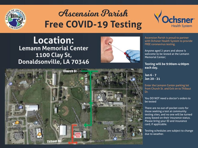 Acesnion Parish and Ochsner team up for free COVID-19 testing in Donaldsonville.