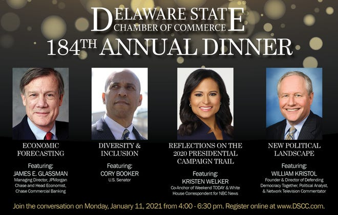 The Delaware State Chamber of Commerce's 184th Annual Dinner is set for 4 to 6:30 p.m. Jan. 11, to be held virtually.