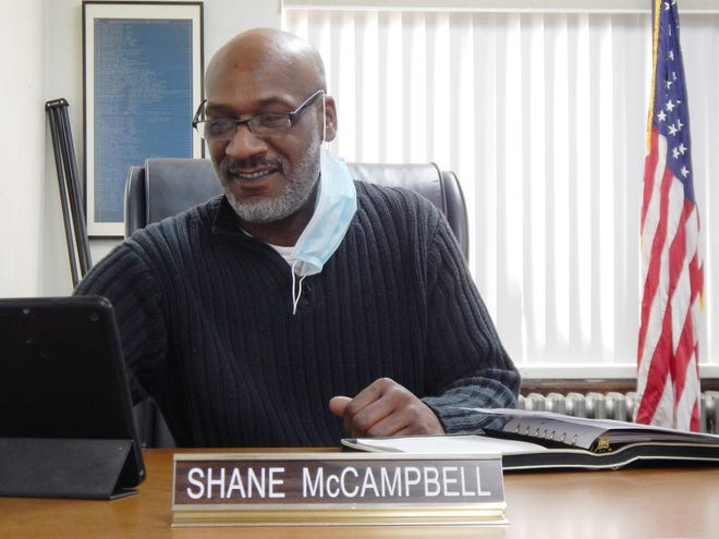 Shane McCampbell gets ready for his first meeting as the newest member of the Des Moines County Board of Supervisors Tuesday in the Des Moines County Courthouse. McCampbell was elected last November, defeating 16-year board member Bob Beck.