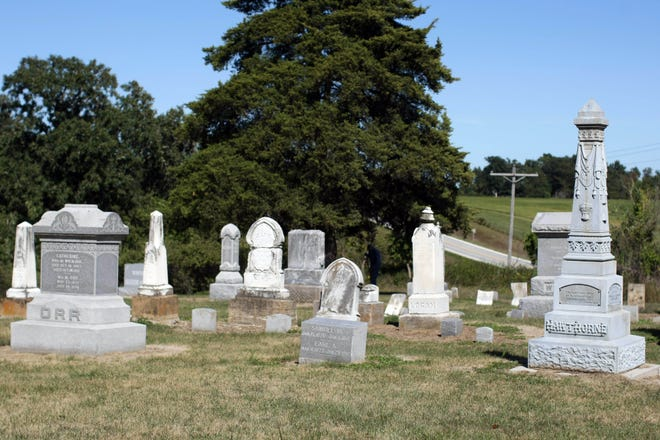 In this file photo, gravestones are shown at the Covenanter/Presbyterian Cemetery near Mediapolis. The Des Moines County Pioneer Cemetery Commission allocates $21,000 each year to the maintenance of 31 of the county's 58 pioneer cemeteries.