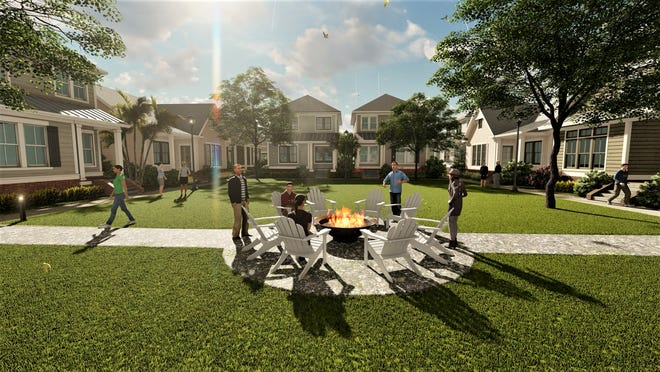 An artist's rendering of The Hamlet, one of several single-family rental home communities planned for the Jacksonville area.
