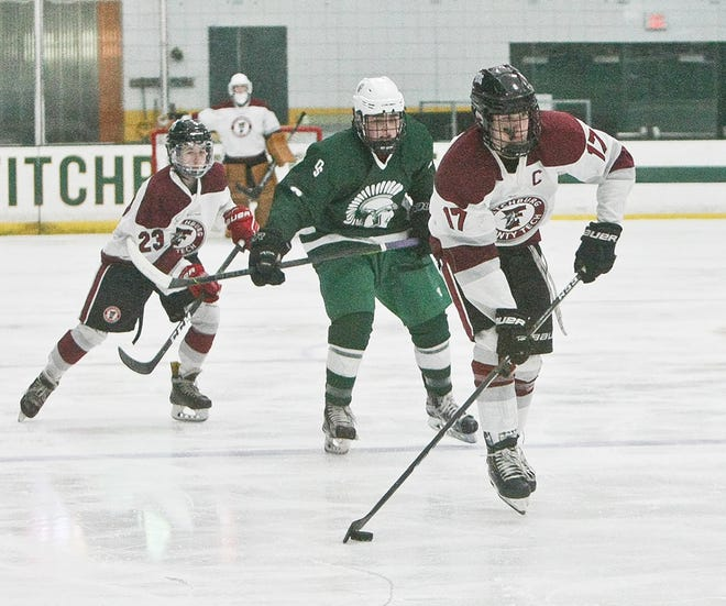 Fitchburg/Monty Tech senior forward Max Beaulac (17), shown looking for a shooting opportunity against Oakmont in a game last year, led the Red Raiders in goals (18) and assists (17) a year ago.