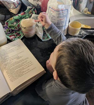 Amanda Miller's nephew learns about yeast.