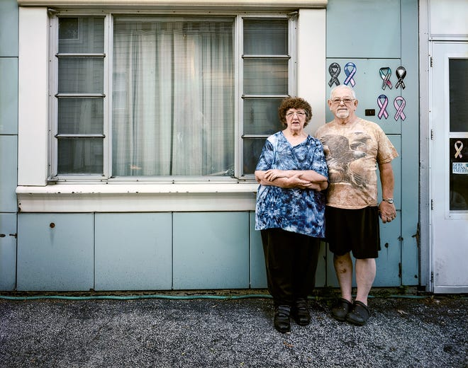 Bob and Helen Mintz, inkjet print from scanned film, 2015.