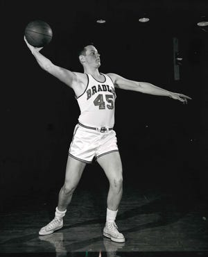 Lee O'Connell as a member of the Bradley men's basketball team. The longtime Peorian went on to found the Clubs at River City and was a fixture in the city's athletic scene.