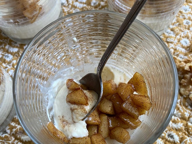 Panna cotta, or cooked cream, is a rich, creamy Italian dessert held together with gelatin. For additional texture and more flavor, add a topping of cinnamon-sauteed apples, and toasted walnuts.