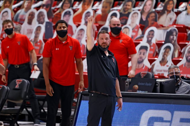 Texas Tech coach Chris Beard reacts after a play during the second half of a Big 12 Conference game Jan. 2 against Oklahoma State at United Supermarkets Arena. The Red Raiders dropped an 82-77 overtime decision to the Cowboys. [AP Photo/Brad Tollefson]