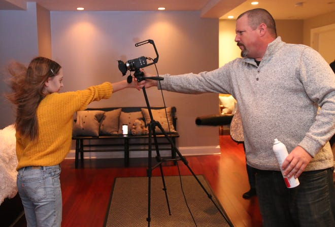 Peyton O'Kelley, left, in character as Harper, with KINDEr executive producer and co-writer Adam Morey during their shoot in Princeton.